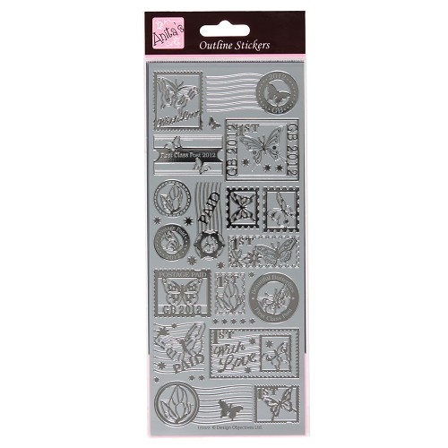 OUTLINE STICKERS - POSTAGE STAMP BUTTERFLIES SILVER