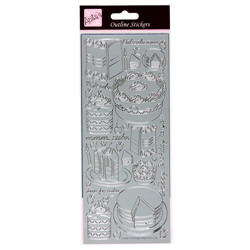 OUTLINE STICKERS - CAKE SILVER