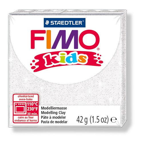 Fimo kids boetseerklei 42 g glitter wit