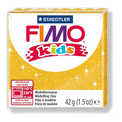 Fimo kids boetseerklei 42 g glitter goud
