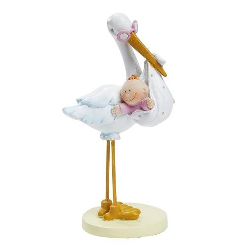 CREApop® Ooievaar met Babygirl, ca. 11 cm
