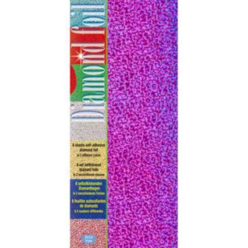 1 PK (1PK) Diamond foil paars-roze 10 x 23 cm 6 VL