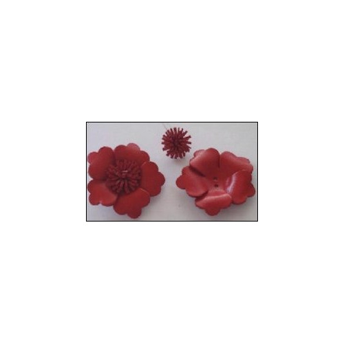 Real Leather Flower (1) red