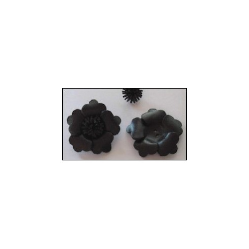 Real Leather Flower (1) black