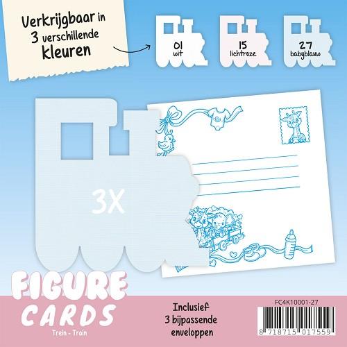Figure Cards - Stoomlocomotief - Babyblauw