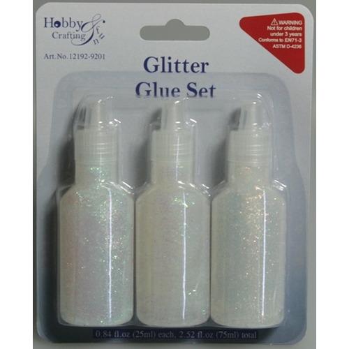 1 PK (1PK) Glitterlijm wit assorti 25 ml 3 ST