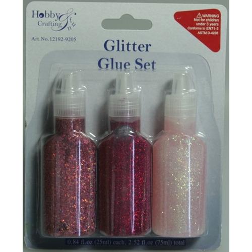 1 PK (1PK) Glitterlijm roze assorti 25 ml 3 ST