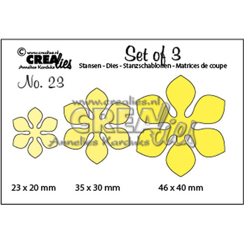 Crealies Set of 3 no. 23 Flowers 14 CLSET23 / 2,3x2 3,5x3 4,6x4 cm