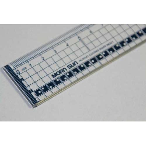 1 ST (1 ST) Snijliniaal transparant 20cm met metalen rand