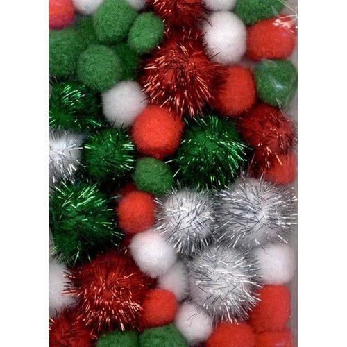 1 ST (1ST) Mix PomPom Set kerstkleuren incl glitter 50 ST   2.0 cm, 2.5 cm, 3.5 cm