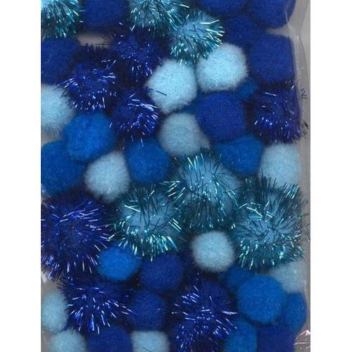 1 ST (1ST) Mix PomPom Set blauw incl glitter 50 ST   2.0 cm, 2.5 cm, 3.5 cm