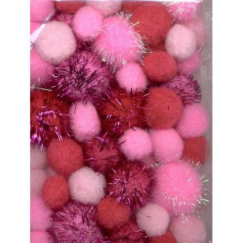 1 ST (1ST) Mix PomPom Set roze incl glitter 50 ST   2.0 cm, 2.5 cm, 3.5 cm