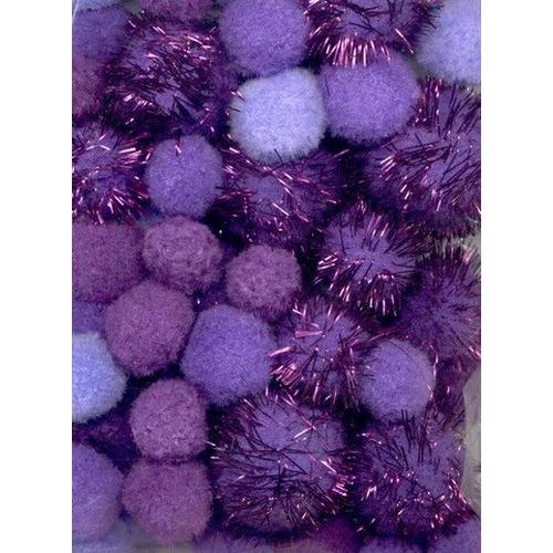 1 ST (1ST) Mix PomPom Set paars incl glitter 50 ST   2.0 cm, 2.5 cm, 3.5 cm