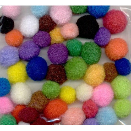 1 ST (1ST) Mix PomPom Set assortiment kleuren 48 ST   1.5 cm - 2.0 cm