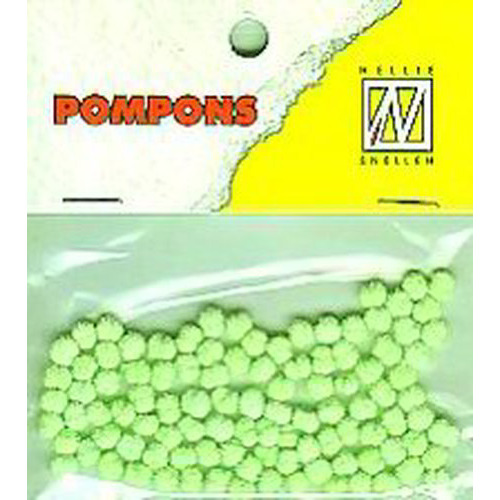 Nellie's Choice  Mini pompoms neon groen 100 ST 3mm POM014