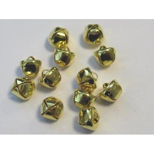 Kerst belletjes goudkleur 10 mm 12 ST