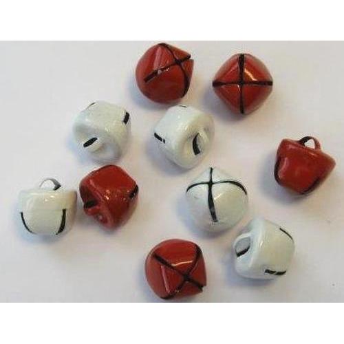 Kerst belletjes rood en wit 12 mm 10 ST