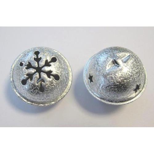 1 ST (1ST) Kerst bel satijn zilver 40 mm 1 ST