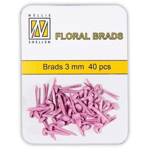 Nellie`s Choice  Glitter brads roze 40 ST 3mm FLP-GB003