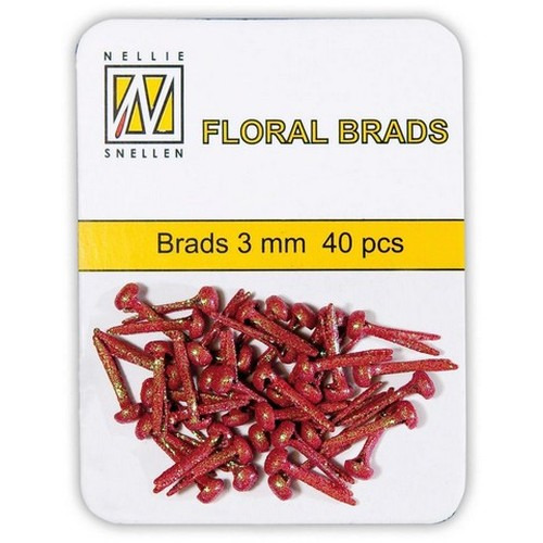 Nellie's Choice  Glitter brads rood 40 ST 3mm FLP-GB006