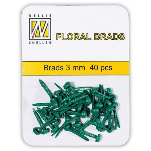 Nellie's Choice  Glitter brads groen 40 ST 3mm FLP-GB007