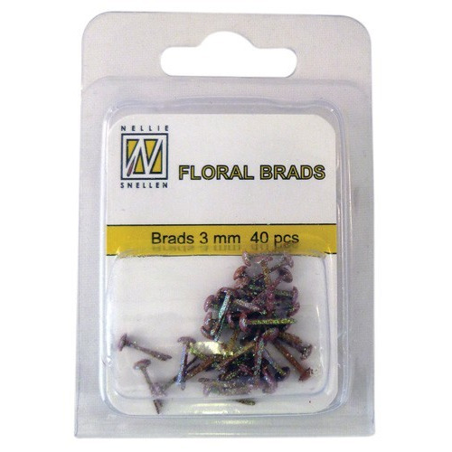 Nellie's Choice  Glitter brads bruin 40 ST 3mm FLP-GB014