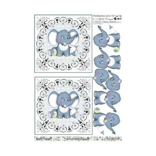 A4 knipvel baby olifantje blauw met hobbydots patroon
