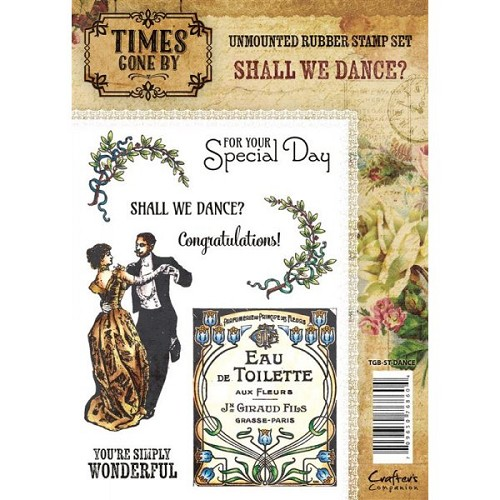 Crafters Companion Times Gone By Rubber Stamp - Shall We Dance (A6 Stamp Set)