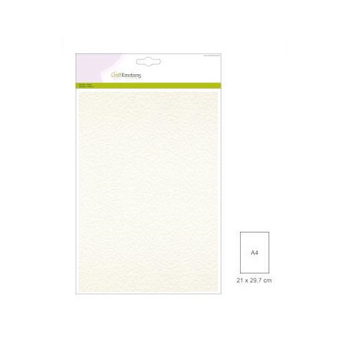 CraftEmotions fluweelstructuurkarton 10 vel wit A4 250gr