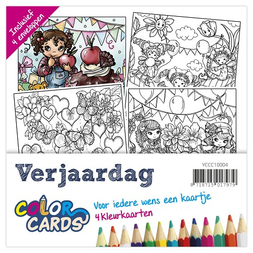 Color Cards 4 - Yvonne Creations - Verjaardag