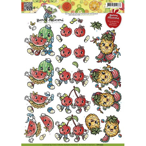 3D Knipvel - Yvonne Creations - Fruitpoppetjes