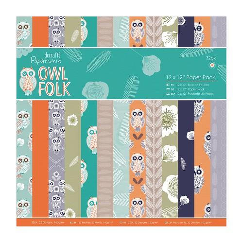 12 x 12 Paper Pack (32pk) - Owl Folk