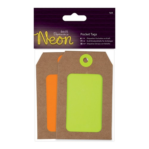 Pocket Tags (4pk)  - Yellow and Orange Neon