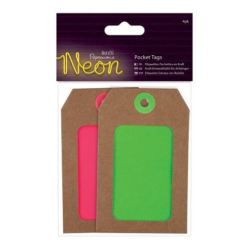 Pocket Tags (4pk) - Pink & Green Neon