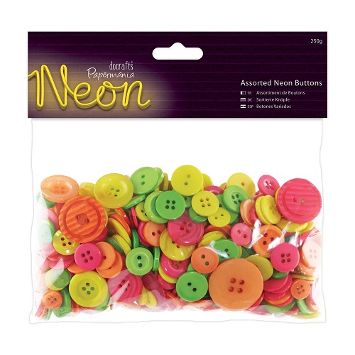 Assorted Buttons (250g) - Neon