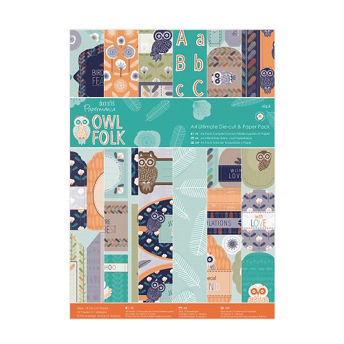 A4 Ultimate Die-cut & Paper Pack (48pk) - Owl Folk