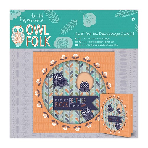 6 x 6'' Framed Decoupage Card Kit - Owl Folk
