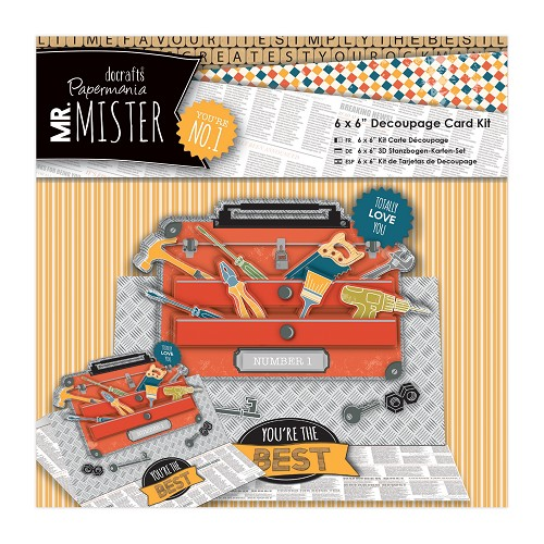 6 x 6'' Decoupage Card Kit - Mr Mister