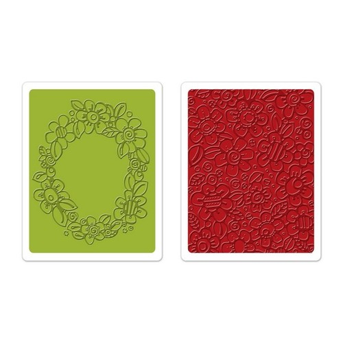 Sizzix Text. Impr. Emb. Folders 2PK - Wreath & Flowers Set 659965 Homeg. & Handm. ( 09-14 )