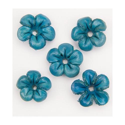 leren kralen bloem blauw