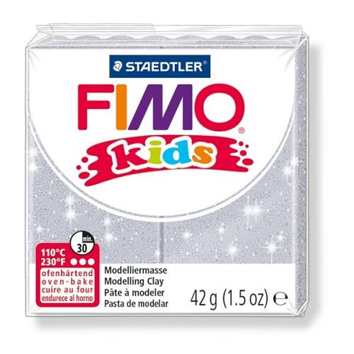 Fimo kids boetseerklei 42 g glitter zilver