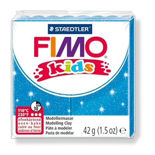 Fimo kids boetseerklei 42 g glitter blauw