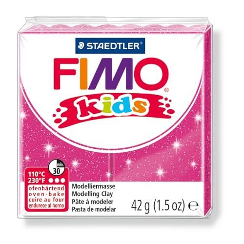 Fimo kids boetseerklei 42 g glitter rose