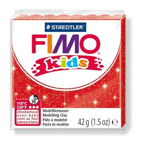 Fimo kids boetseerklei 42 g glitter rood