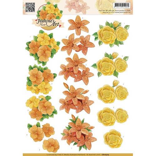 3D Knipvel - Jeanines Art - Oranje geel bloemen
