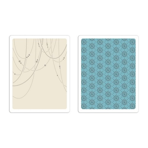Sizzix Text. Fades Emb. Folders 2PK - Beaded Garland & Snowfl 660041 Tim Holtz ( 10-14 )