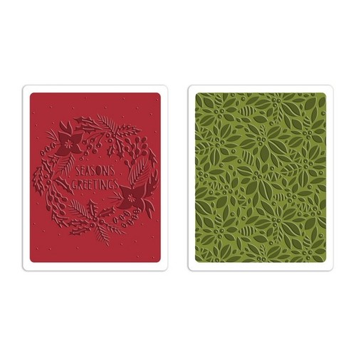 Sizzix Text. Fades Emb. Folders 2PK - Greetings & Greens Set 660042 Tim Holtz ( 10-14 )