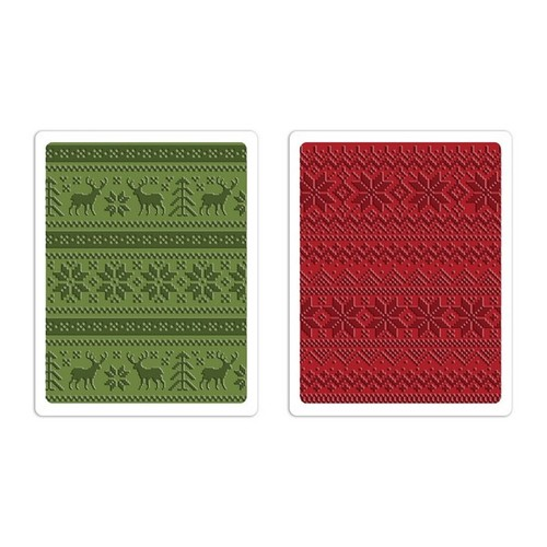 Sizzix Text. Fades Emb. Folders 2PK - Holiday Knit Set 660043 Tim Holtz ( 10-14 )