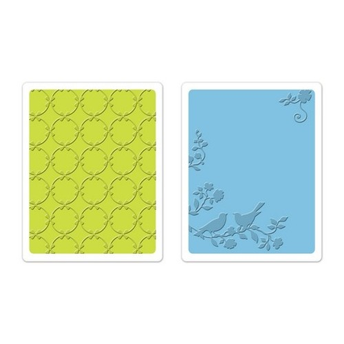Sizzix Text. Impr. Emb. Folders 2PK - Lattice & Songbirds Set 659629 Brenda Walton ( 10-14 )