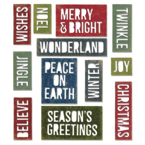 Sizzix Thinlits Die Set 17PK - Holiday Words: Block 660057 Tim Holtz ( 10-14 )